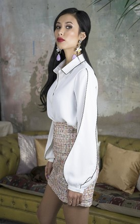 Olivia White  Bell Sleeve Blouse Shirt by Lavand Stories