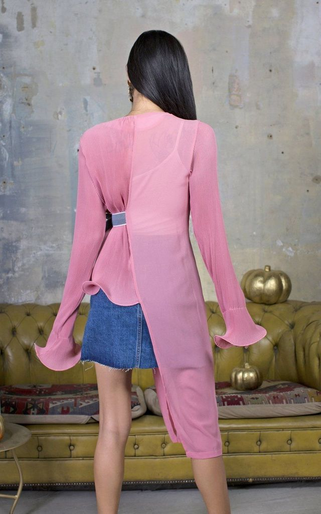 Shirin Pink Pleated Tie Blouse by Lavand Stories