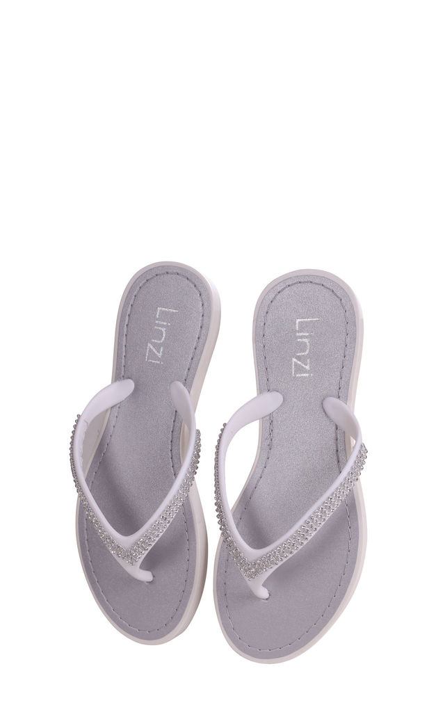 Cher White Flip Flops With Diamante Straps by Linzi