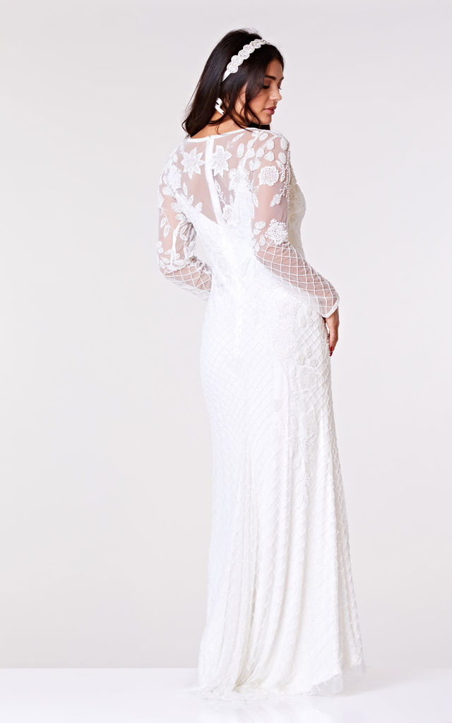 Polly Maxi Long Sleeved Wedding Dress in White by Gatsbylady London