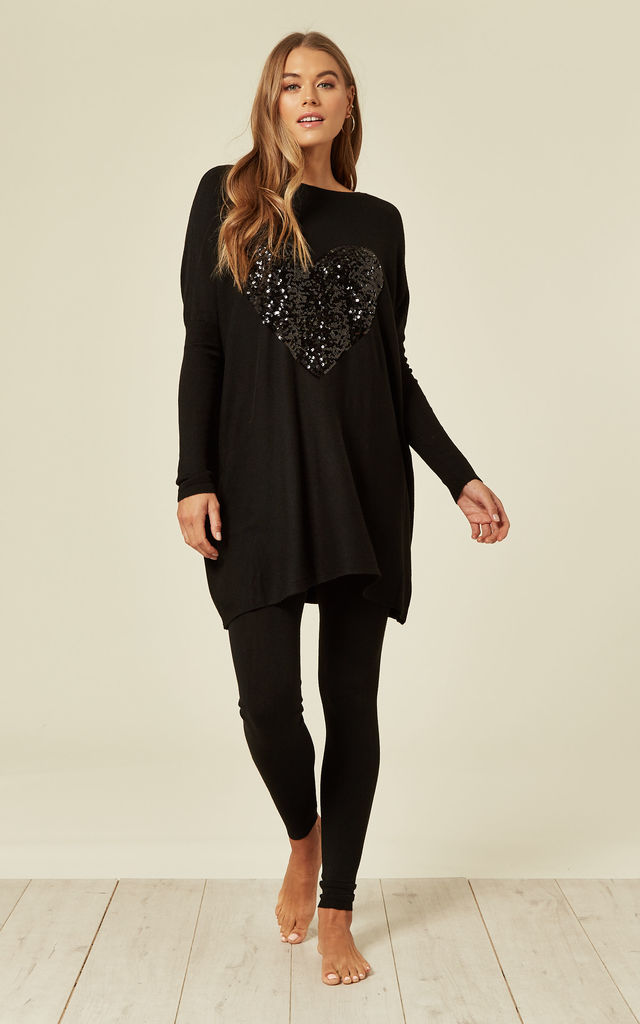 JAS - Black Sequin Heart Oversized Top With Leggings by Blue Vanilla