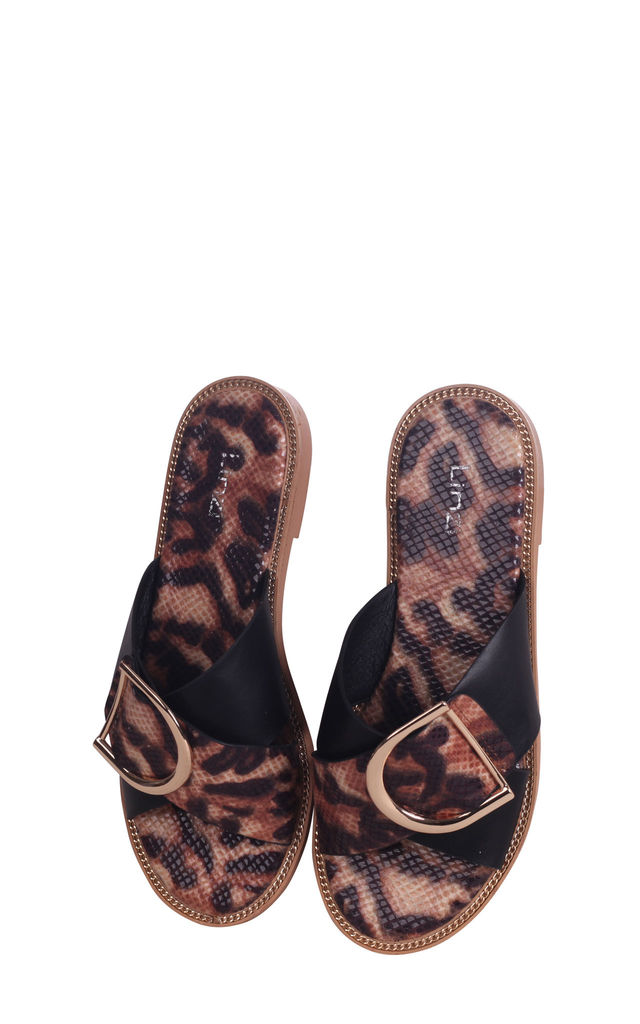 Vegas Leopard Slip On Slider With Crossover Front Strap & Giant Buckle Detail by Linzi