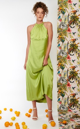 Isla Maxi dress silky satin in lime by COCOOVE