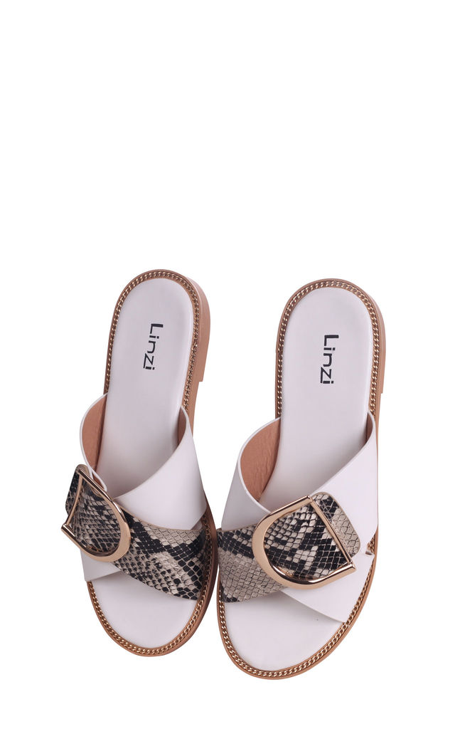 Vegas White Slip On Slider With Crossover Front Strap & Giant Buckle Detail by Linzi