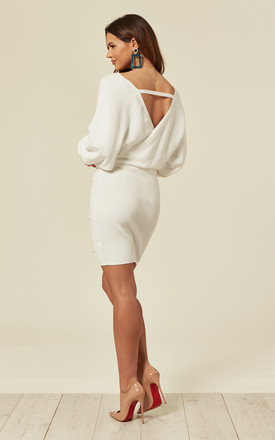 Knitted Ribbed Wrap Dress With Pearls In White by CY Boutique
