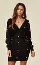 Knitted Ribbed Wrap Dress with Pearls in Black by CY Boutique