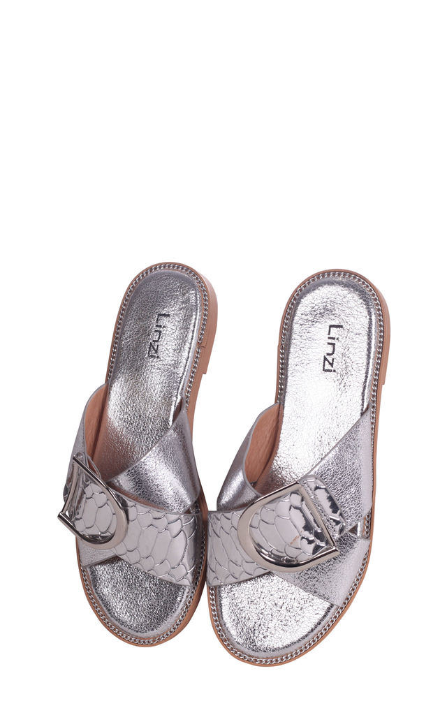Vegas Silver Slip On Slider With Crossover Front Strap & Giant Buckle Detail by Linzi