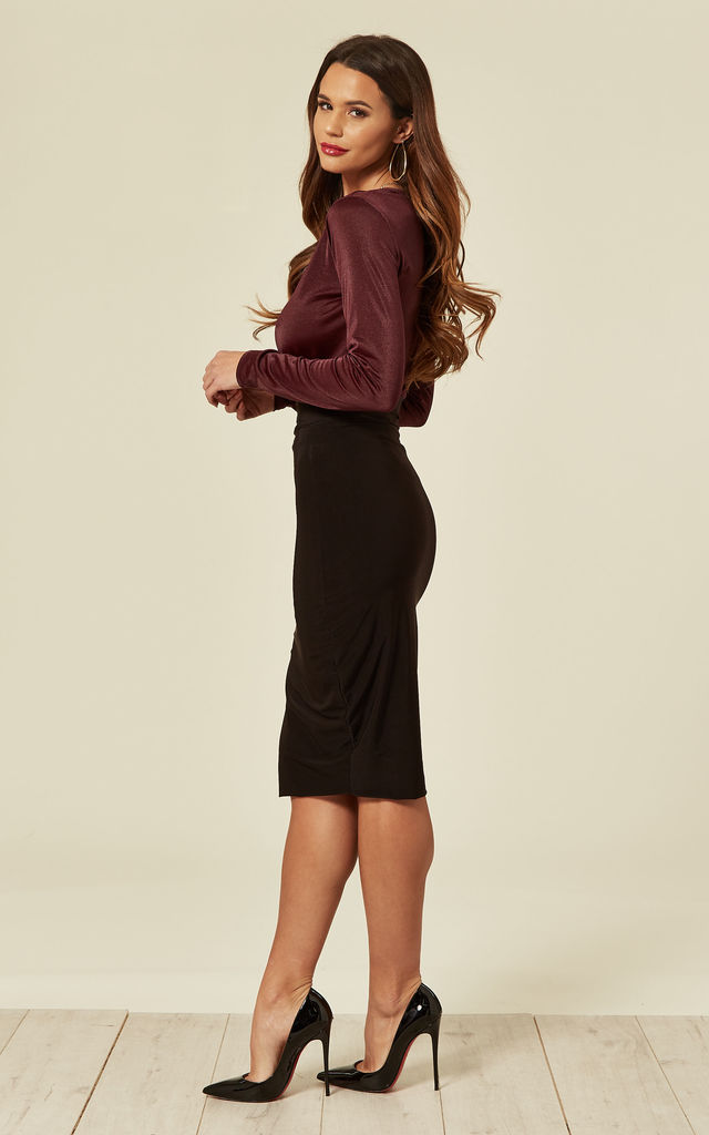 Black Amelia High Waisted Midi Skirt by Pleat Boutique