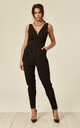 V Neck Jumpsuit with Cupping in Black by WalG