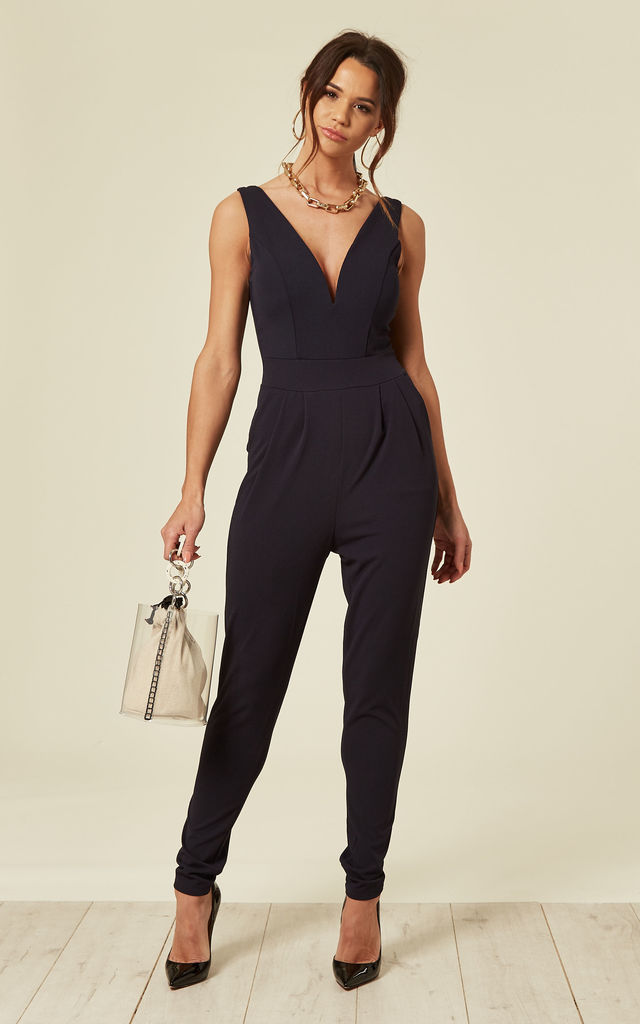 V Neck Jumpsuit with Cupping in Navy by WalG