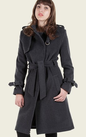 Ventura Grey Military Style Belted Duster Coat by De La Creme Fashions