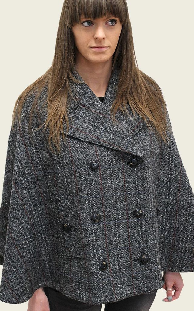 Vitalia Harris Tweed Check Cape by De La Creme Fashions