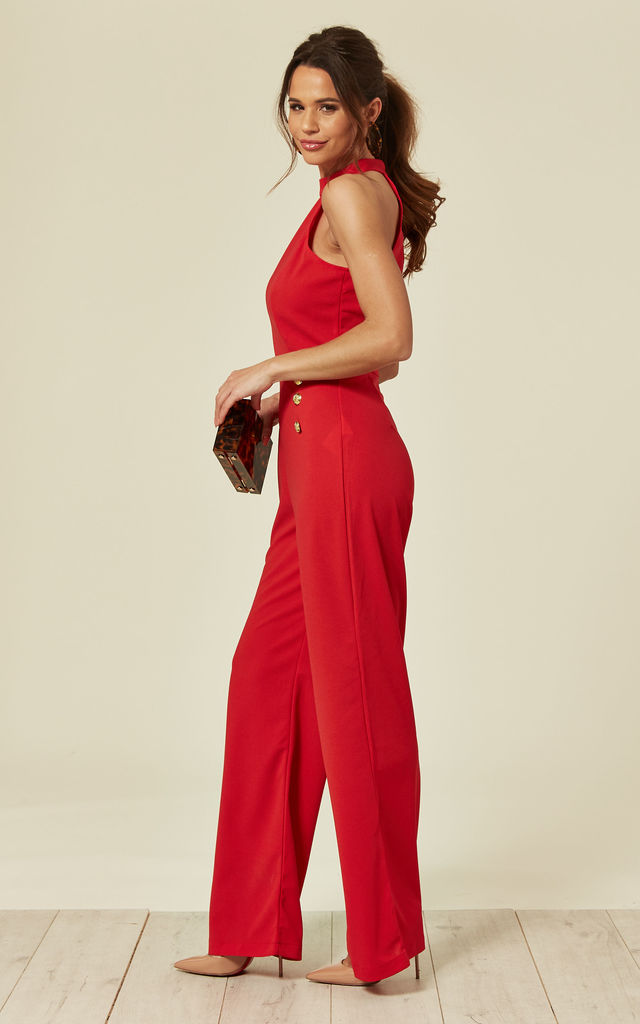 baa835b5f489 Red Halterneck Jumpsuit With Military Buttons