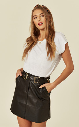 Faux Leather Mini Skirt with Belt Detail by MISSI LONDON