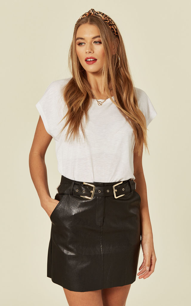 Black PU Stud Skirt with Belt Detail by MISSI LONDON