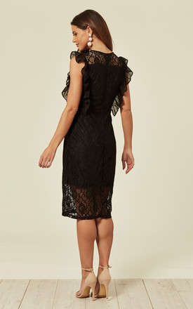 Midi Dress with Lace Frill Detail in Black by MISSI LONDON