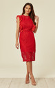 Midi Dress with Lace Frill Detail in Red by MISSI LONDON