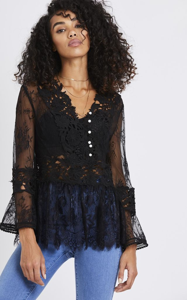 Crochet & Lace Long Sleeve Detail Top in Black by Emily & Me