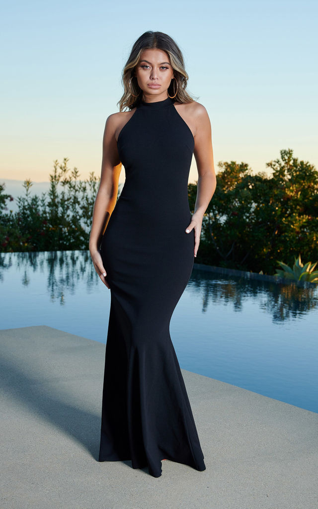 ba228936ae2 Black High Neck Cold Shoulder Crepe Maxi Dress by Club L London