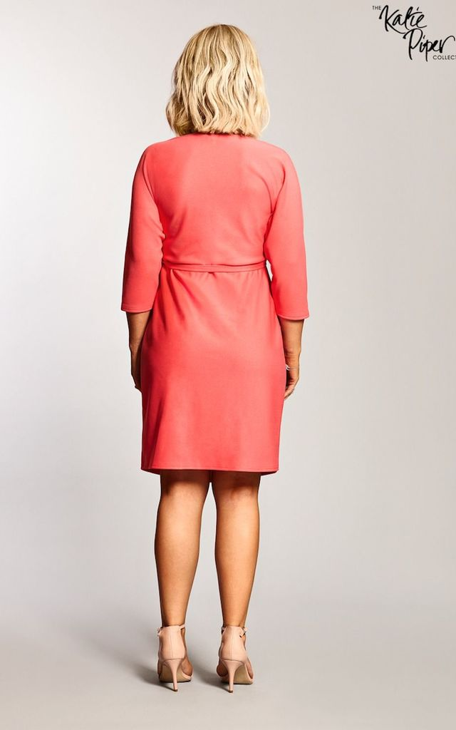 Maternity Coral 3/4 Sleeve Wrap Over Belted Dress by Want That Trend Maternity