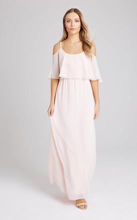 9a0342ed9da Motion Nude Chiffon Cold Shoulder Maxi Bridesmaid Dress