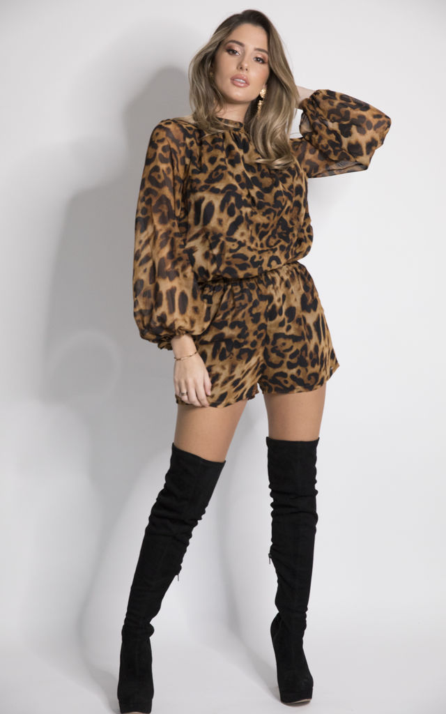 CARRIE Long Sleeve Play Suit in Leopard Print by House of Gigi