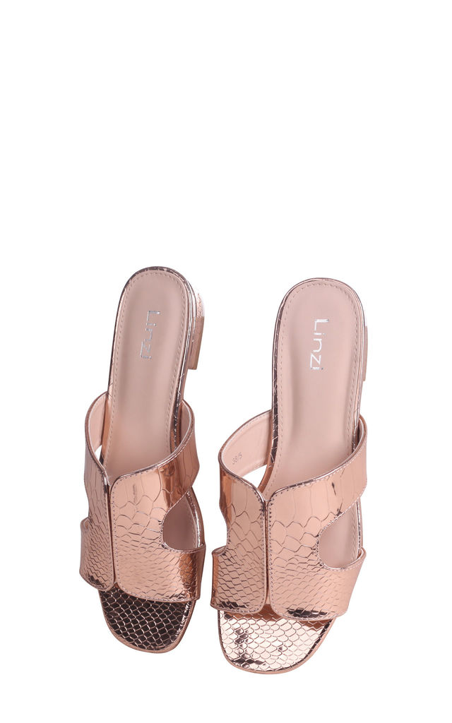Miami Rose Gold Metallic Croc Slip On Slider With Square Toe by Linzi