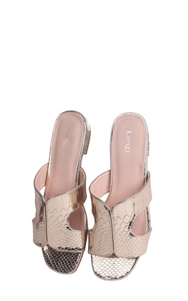 Miami Gold Metallic Croc Slip On Slider With Square Toe by Linzi