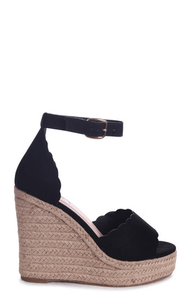 Cherish Black Suede Rope Platform Wedge With Wavey Front Strap by Linzi