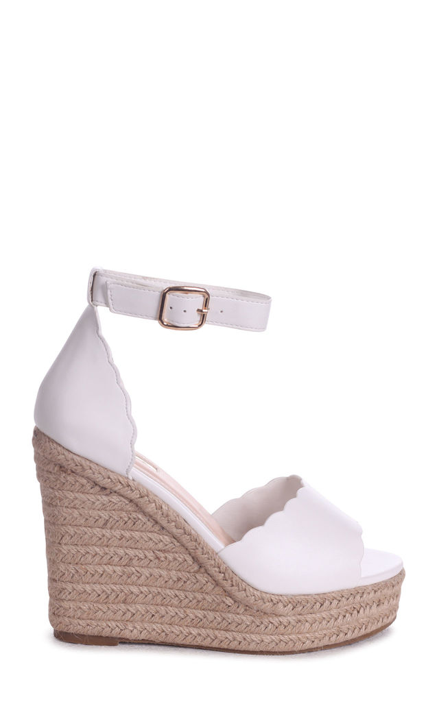 Cherish White Suede Rope Platform Wedge With Wavey Front Strap by Linzi