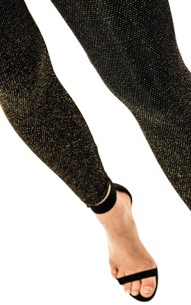 Fashionkilla high waist cropped leggings in black and gold metallic by Fashionkilla