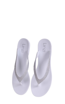 Orchid White Flip Flop With Silver Glitter Straps by Linzi