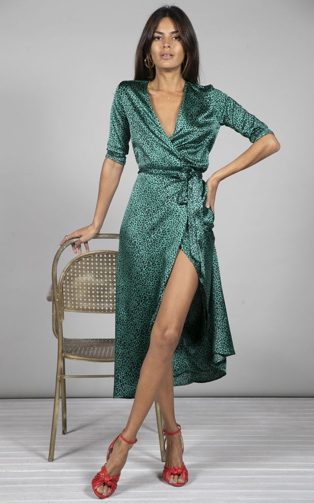 YONDAL DRESS IN SMALL GREEN LEOPARD PRINT by Dancing Leopard