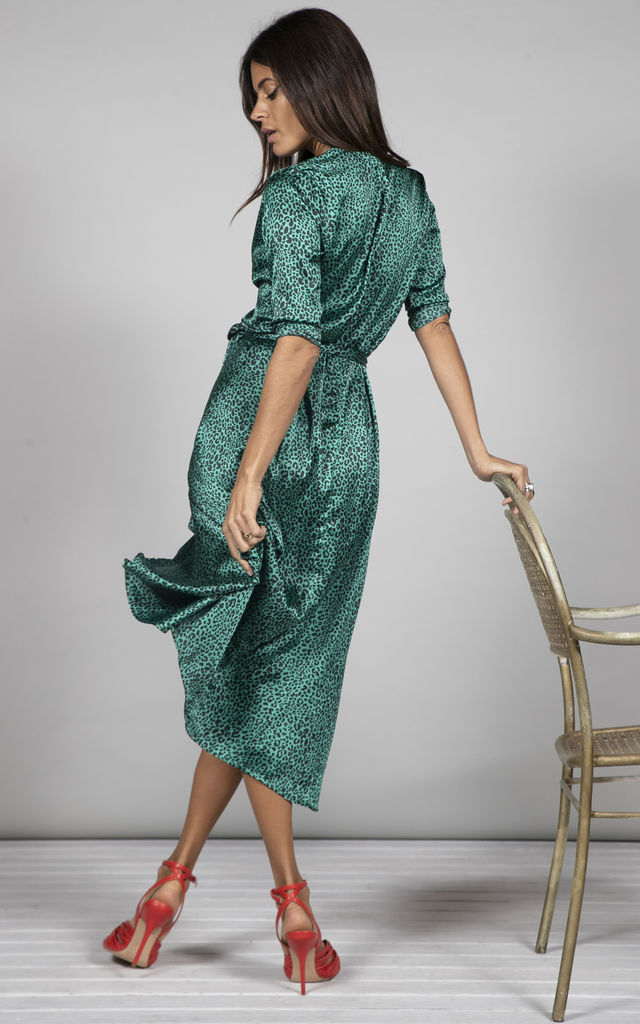 YONDAL DRESS IN SMALL GREEN LEOPARD PRINT image