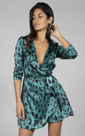 Marley Wrap Dress In Big Green Leopard by Dancing Leopard Product photo