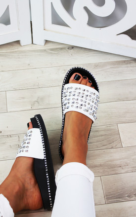 White Stud Diamante Sliders by Larena Fashion