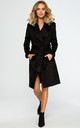 Black coat with wrap belt by MOE