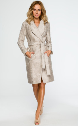 Beige coat with wrap belt by MOE