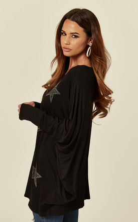 CHARLOTTE – Bling Star Oversized Black Top by Blue Vanilla