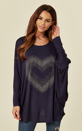 MIA – Oversized Bling Navy Heart Top by Blue Vanilla