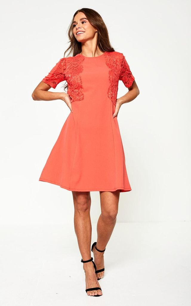 c34eb31c3baa0 ... Harper Lace Detailed Shift Dress in Coral by Marc Angelo ...