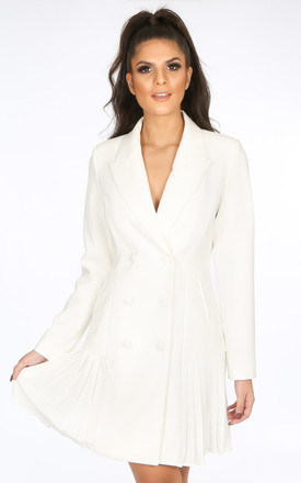 White Blazer Dress With Chiffon Pleated Hem by Dressed In Lucy
