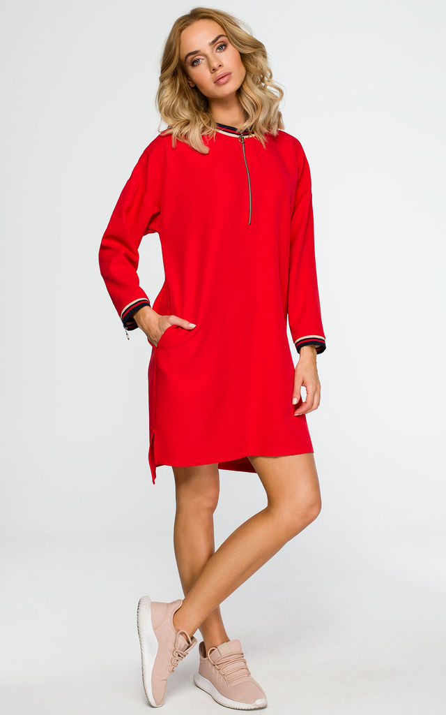 Red dress with metal zip by MOE
