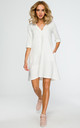 Shift dress with 1/2 sleeve in white by MOE