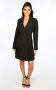 Black Blazer Dress With Chiffon Pleated Hem by Dressed In Lucy