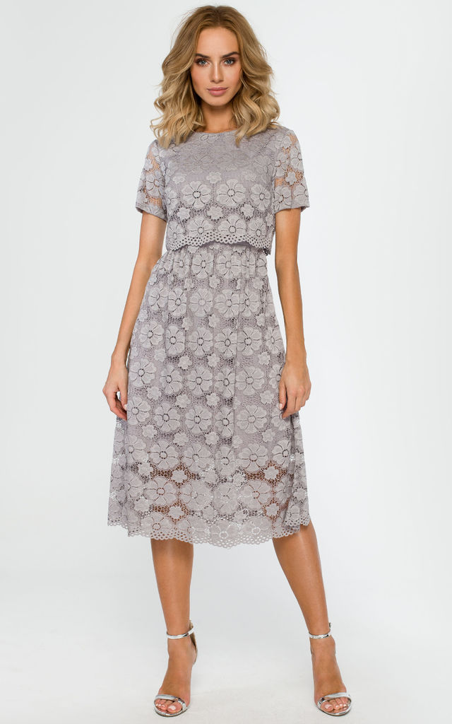 Grey dress with all-over lace by MOE