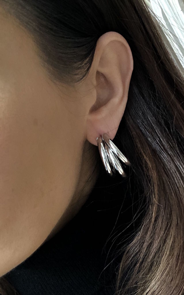 Triple hoop earrings in silver from Mina and Me by Olia by Olia Jewellery