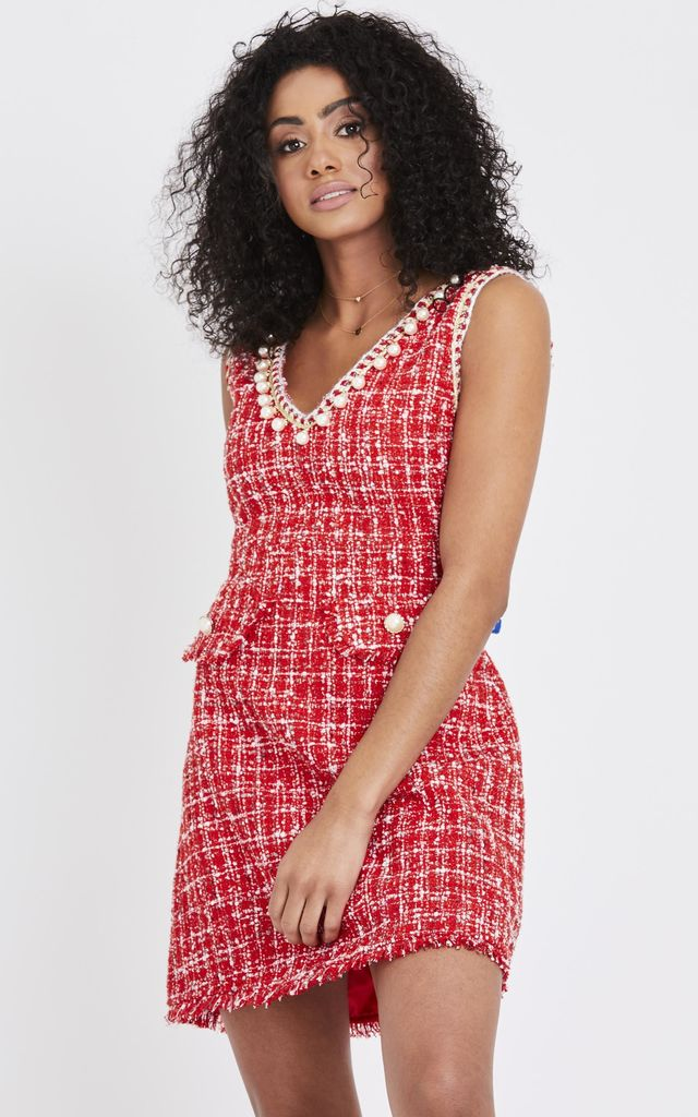 16861b814d0 Pearl Detail Tweed Shift Dress- Red by Emily   Me