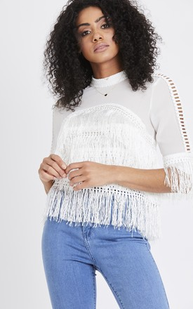 Tassel Panel Top in White by Emily & Me