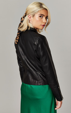 Black Faux Leather Biker Jacket by ONLY